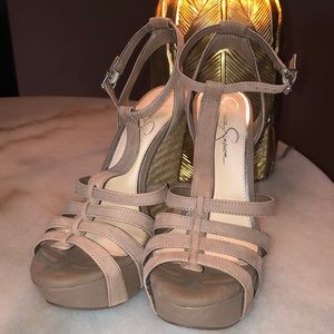 NWT. Never worn strappy wedges